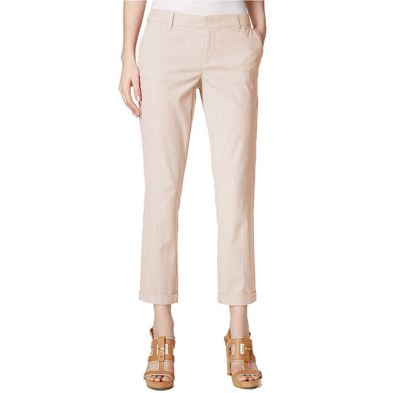 803d0f3cd TOMMY HILFIGER Size 2 Hampton Striped Slim Chino Pants WHITE TANNING ...