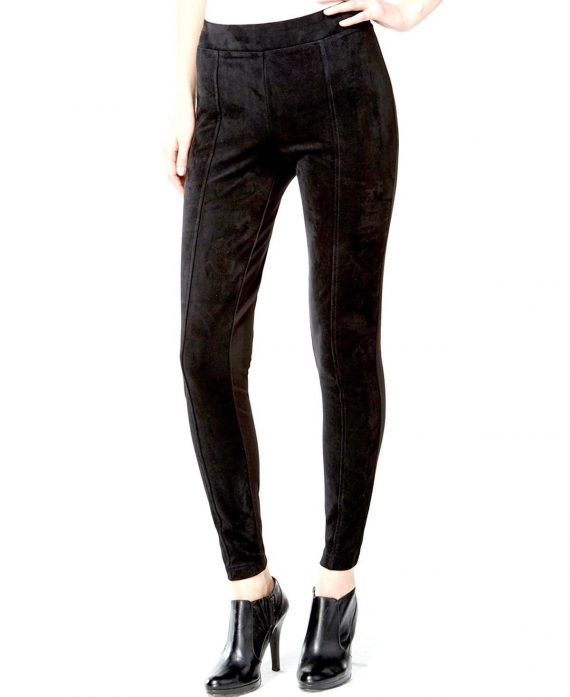CALVIN-KLEIN-Women-Faux-Suede-Front-Seamed-Leggings-BLACK-Size-X-Large-XL-223035123801-2