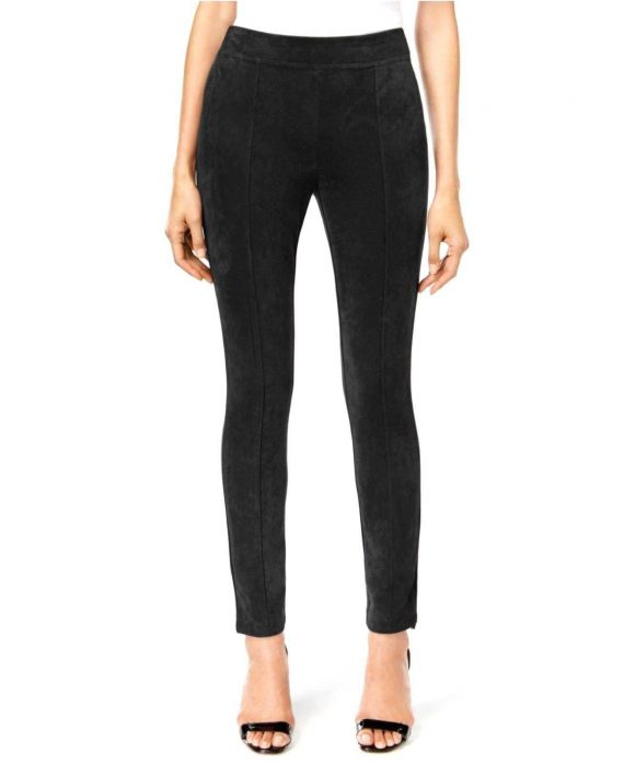 CALVIN-KLEIN-Women-Faux-Suede-Front-Seamed-Leggings-BLACK-Size-X-Large-XL-223035123801