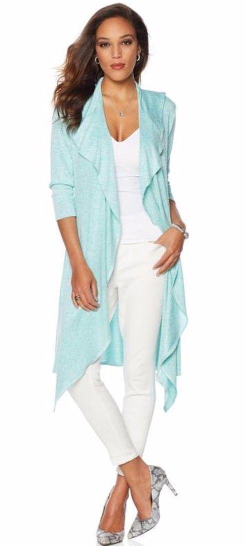 RHONDA-SHEAR-Women-Ruffle-Open-Front-Cardigan-SEAFOAM-WHITE-Size-Medium-223039222291