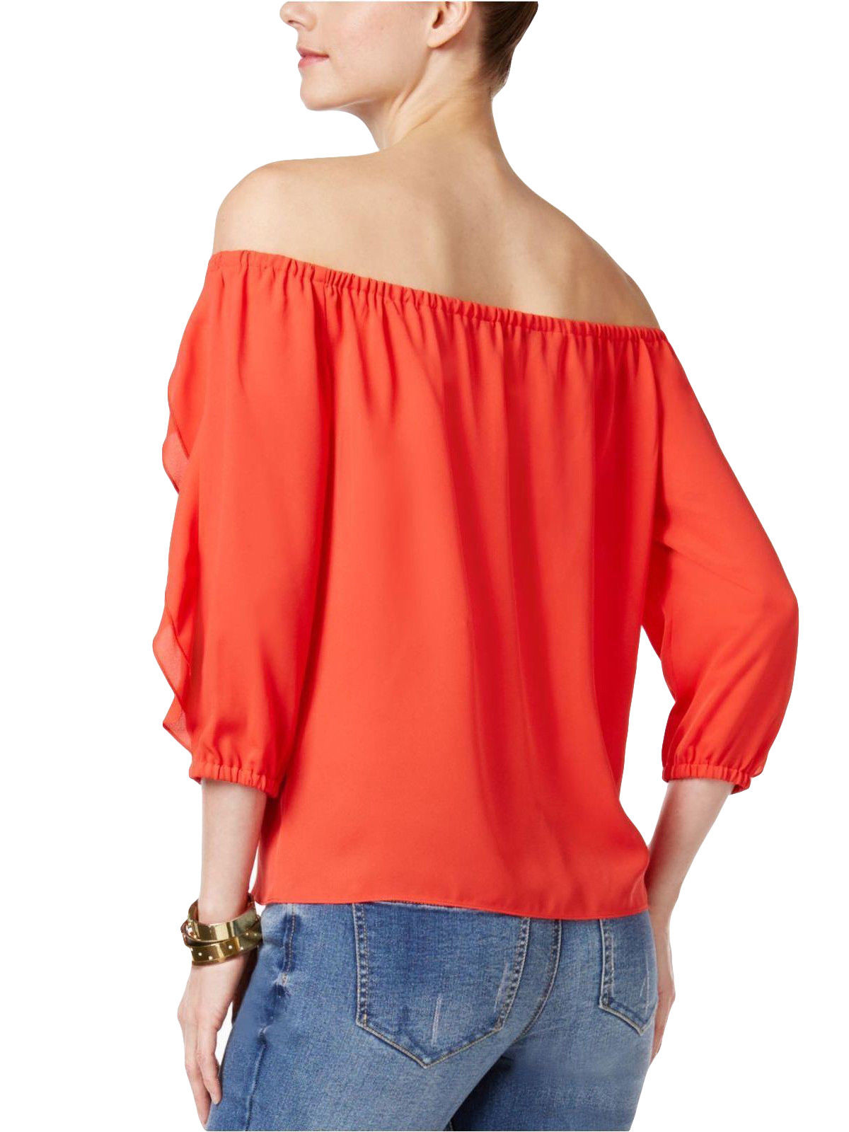 6c4762f155540 INC International Concepts Ruffled Off-The-Shoulder Top HIBISCUS ...