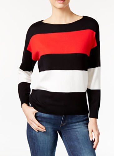 VINCE-CAMUTO-Striped-Colorblocked-Women-Sweater-BLACK-RED-WHITE-Small-223041034794-2