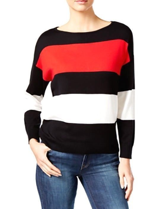 VINCE-CAMUTO-Striped-Colorblocked-Women-Sweater-BLACK-RED-WHITE-Small-223041034794
