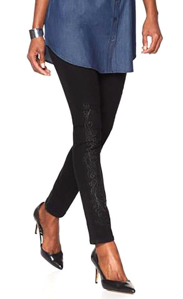 06cc1982b8da Sale! Home / Jeans / DIANE GILMAN Size 18W Virtual Stretch Embroidered  Skinny ...