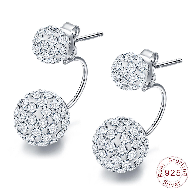 925 Sterling Silver Earrings Elegant Double Spherical AAA Zircon